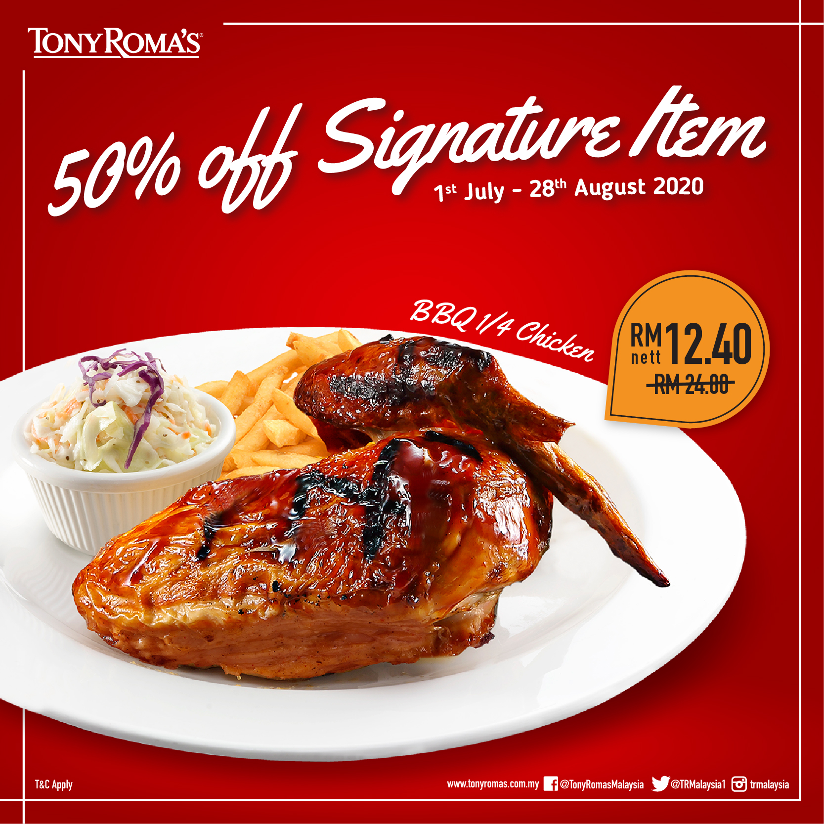 Tony-Romas-50-Off-Signature-Item-BBQ-Quarter-Chicken