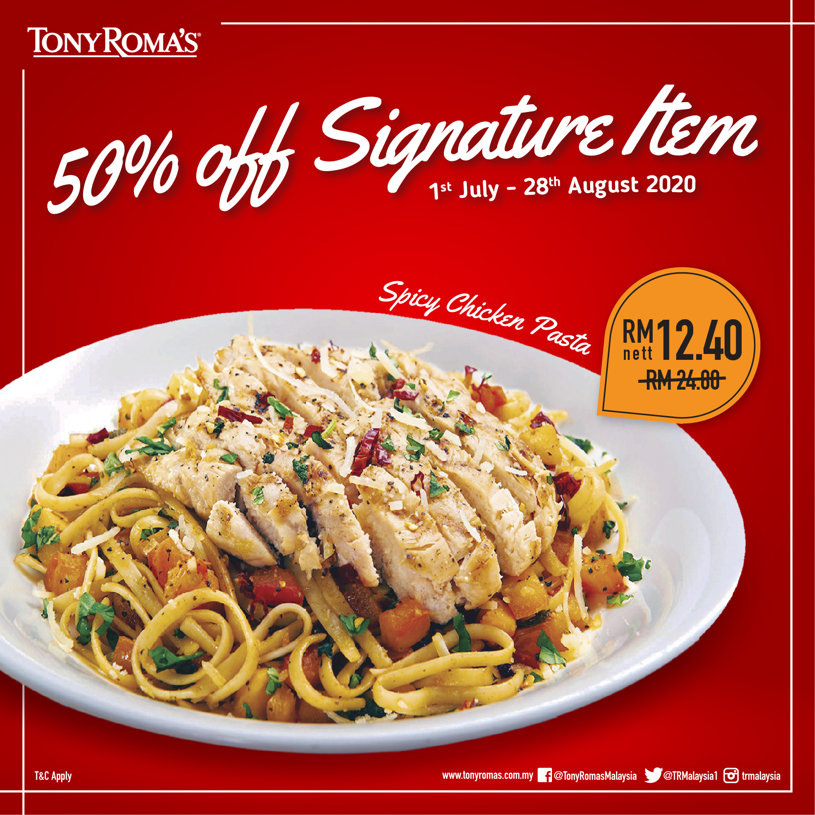 Tony-Romas-50-Off-Signature-Item-Spicy-Chicken-Pasta